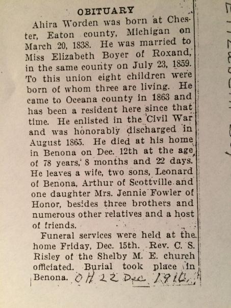 Ahira Worden Obit 12 Dec 1916