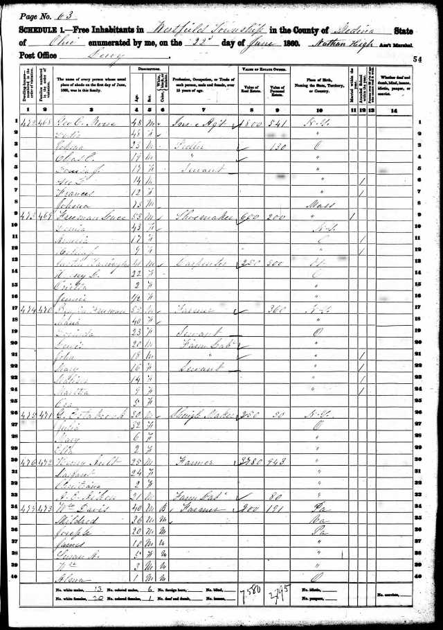 1860 William Davis Medina Ohio Census