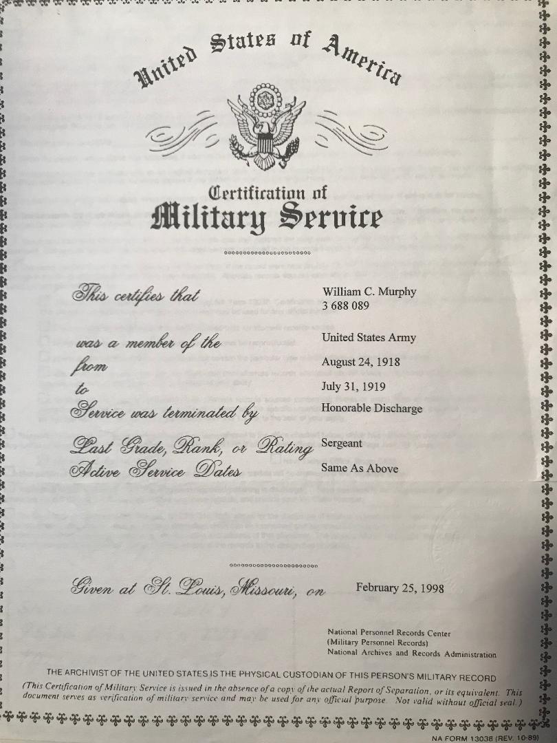 william c murphy certification army
