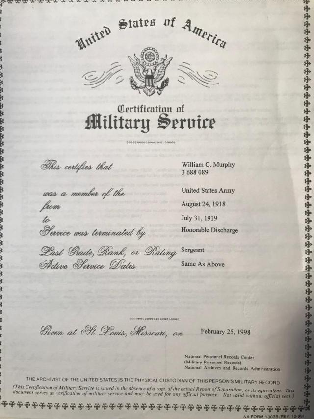 william c murphy certification army